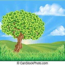 paisagem rolante, árvore, colinas, fundo