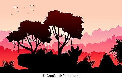 paisagem, selva, cobrança, manhã