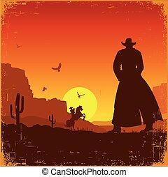 paisagem., selvagem, oeste americano, vetorial, cartaz, ...