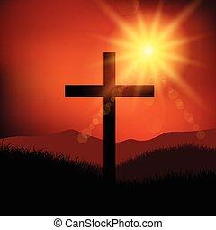 paisagem, sexta-feira, páscoa, crucifixos, 2602