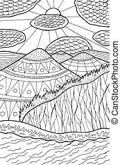 paisagem., sol, ilustração, nuvens, forest., linha, artwork., montanhas, vetorial, doodle, caricatura, rio, tinta