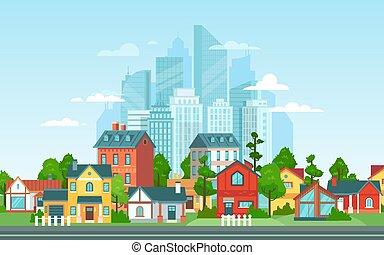 paisagem., subúrbios, suburbans, cabanas, vetorial, grande, casas, caricatura, campo, illustration., arquitetura, skyline, privado, cidade, edifícios., fundo, urbano, pequeno, suburbano