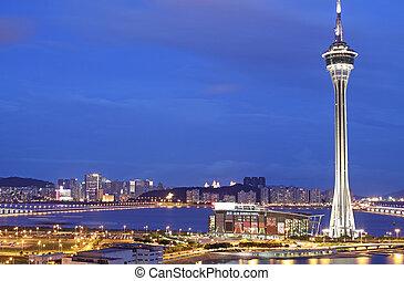 paisagem urbana, de, macau, com, famosos, viajando, torre,...