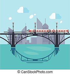 paisagem urbana, e, trem, ligado, estrada ferro
