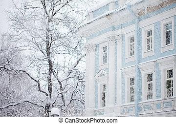 paisagem urbana, inverno, quadro, blizzard, blurry