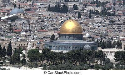 paisagem urbana, vista, de, jerusalém, e, a, cúpula pedra