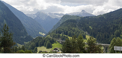 paisagem, verão, alpino, tempo