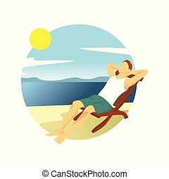 paisagem, verão, relaxante, menino, ilustração, desenho, atividade, praia