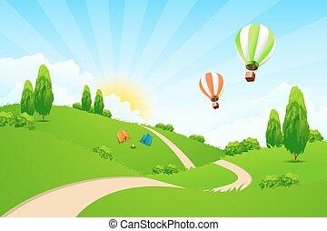 paisagem verde, estrada