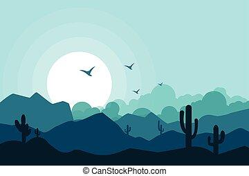paisagem, vetorial, ilustração, fundo