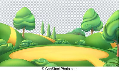 paisagem., vetorial, isolado, natureza, panorama., fundo, 3d...