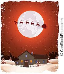 paisagem, voando, santa, vermelho, natal