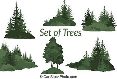 paisagens, com, árvores, silhuetas