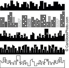 paisagens, vetorial, jogo, cidade