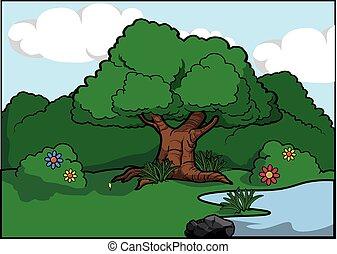 paisaje, árbol grande, alrededor, bosque