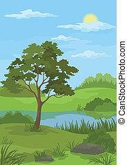 paisaje, árbol, lago, pino