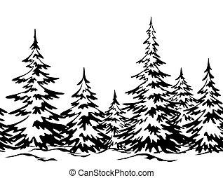 paisaje, árboles de navidad
