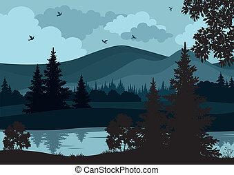 paisaje, árboles, río, y, montañas