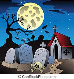 paisaje, 1, halloween, cementerio