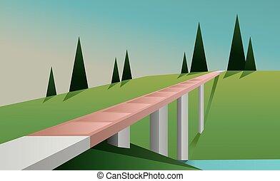 paisaje abstracto, con, un, puente, un