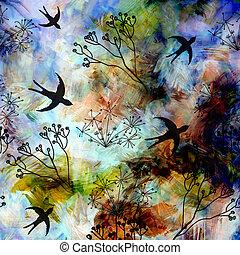 paisaje abstracto, con, vuelo, golondrinas, en, cielo azul, en, grunge, rayado, confuso, tierra, plano de fondo