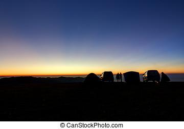 paisaje, al aire libre, campamento
