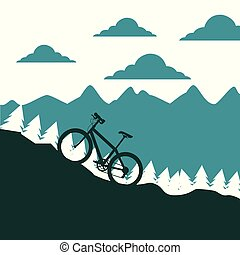 paisaje, ascendente, silueta, bicicleta, montaña