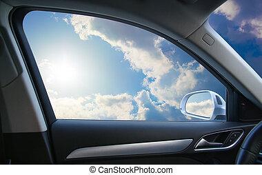 paisaje, atrás, ventana de coche