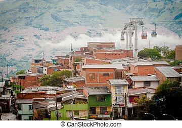 paisaje., cable, medellin, ciudad, góndola, colombia, coche,...