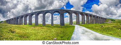 paisaje, campo, viaducto, grande, victoriano, rural, vista