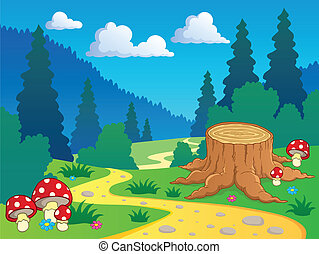 paisaje, caricatura, 7, bosque