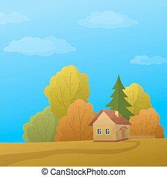 paisaje, casa, poly, bosque de otoño, bajo