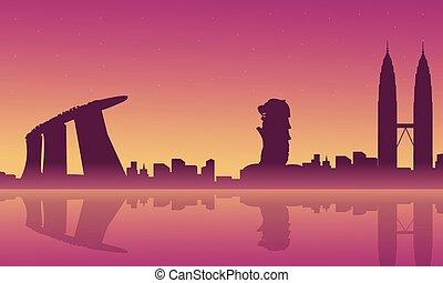 paisaje, ciudad, silueta, singapur, malasia, viaje