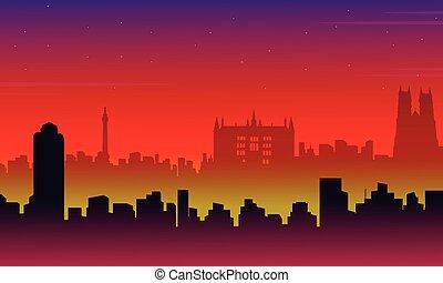 paisaje, ciudad, siluetas, londres, edificio
