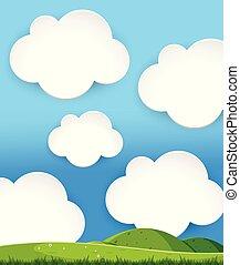 paisaje, colinas verdes, día nublado