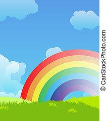 paisaje, con, arco irirs
