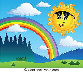 paisaje, con, arco irirs, y, sol 1