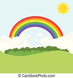 paisaje, con, arco irirs, y, sun., vector, ilustración