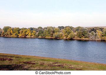 paisaje, con, bosque, y, río