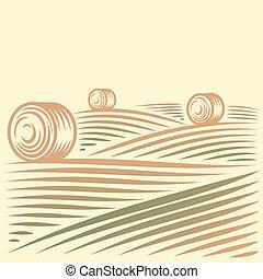 paisaje, con, campos, y, almiares