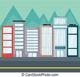 paisaje, con, ciudad, edificios