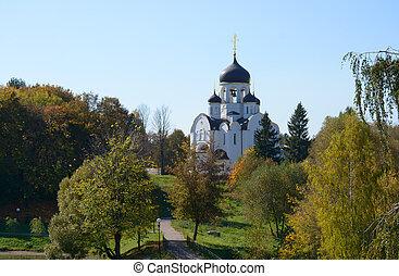 paisaje, con, el, río, y, un, iglesia, en, voskresenskoye, rusia