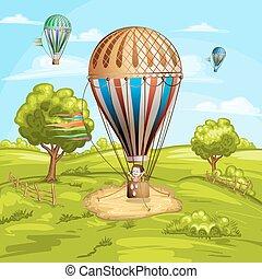 paisaje, con, globos palabrería