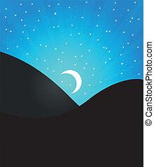paisaje, con, luna
