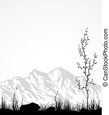 paisaje, con, montañas, vidrio, y, árbol.