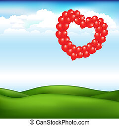 paisaje, con, pelotas, en, forma, de, corazón