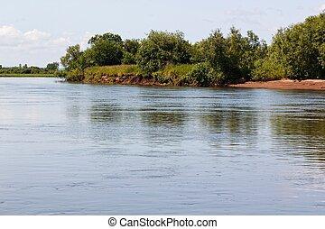 paisaje, con, río