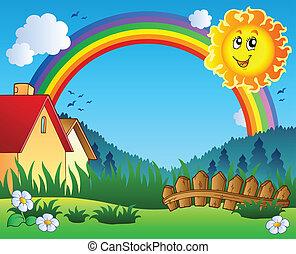 paisaje, con, sol, y, arco irirs