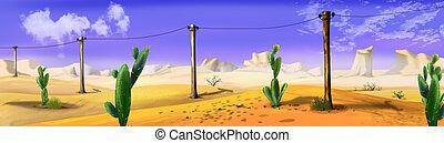 paisaje, con, telegraph-pole