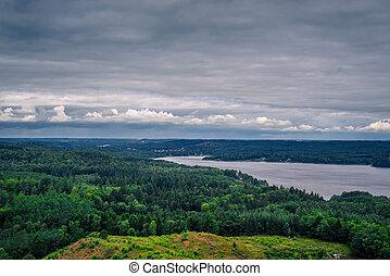 paisaje, con, un, río, en, dinamarca